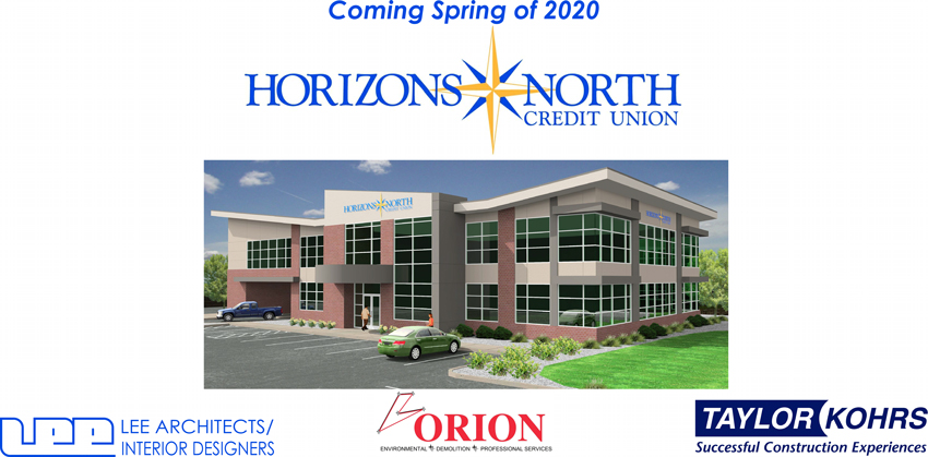 Coming Spring of 2020 - Drawing of new HNCU building with logos.